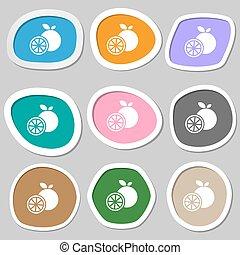 orange icon symbols. Multicolored paper stickers. Vector