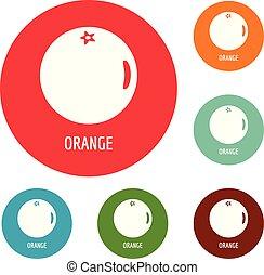 Orange icons circle set vector
