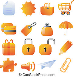 Set of 16 vector icons. Isolated on white. EPS 8