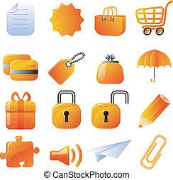 Orange icons set - Set of 16 vector icons. Isolated on...