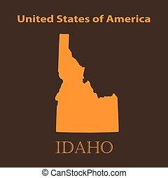 Orange Idaho map - vector illustration.