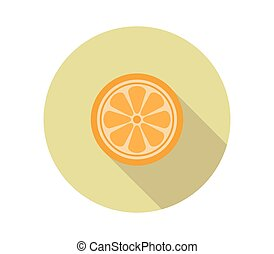 orange, ikone, illustriert, hintergrund, fruechte, weißes, vektor