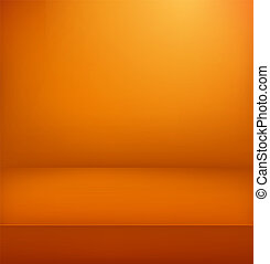 Orange illuminated stage. Vector illustration. Vertical advertising template