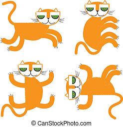 orange, illust, vecteur, collection, chat