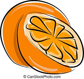 Orange, illustration, vector on white background.