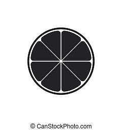 Orange in a cut. Citrus fruit icon isolated. Healthy lifestyle. Flat design. Vector Illustration