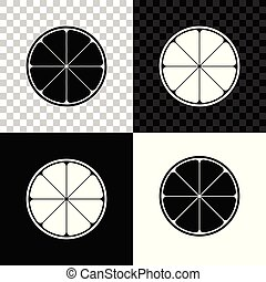 Orange in a cut. Citrus fruit icon isolated on black, white and transparent background. Healthy lifestyle. Vector Illustration