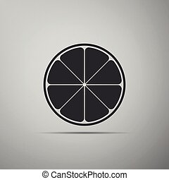 Orange in a cut. Citrus fruit icon isolated on grey background. Healthy lifestyle. Flat design. Vector Illustration