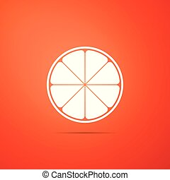 Orange in a cut. Citrus fruit icon isolated on orange background. Healthy lifestyle. Flat design. Vector Illustration