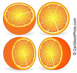 Orange, in a cut close-up at different angles