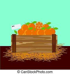 Orange in a wooden crate.
