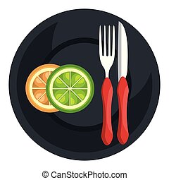 orange in dish with fork and knife
