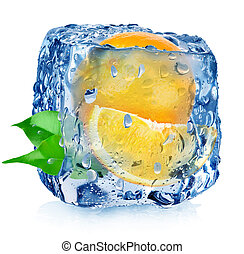 Orange in ice cube with drops