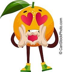 Orange in love, illustration, vector on white background.