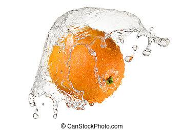 Orange in splash of water