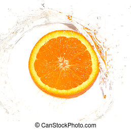 orange in water on white background