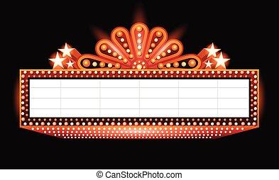 orange, incandescent, cinéma, brillamment, signe, théâtre, retro, néon