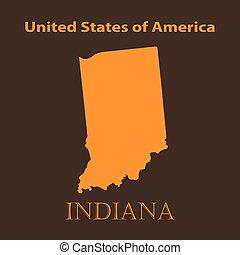 Orange Indiana map - vector illustration.