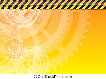 industrial - Orange industrial background with white wheels.