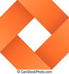 Orange infinite ribbon loop folded in a shape of rhombus. 3D-like vector symbol. Modern icon design