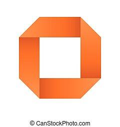 Orange infinite ribbon loop folded in a shape of square. 3D-like vector symbol. Modern icon design