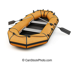Orange inflatable rubber boat