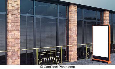 orange Information Displays. Banner Stands in your design. 3D rendering. Modern Large windows and brick columns.