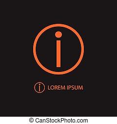 orange, informationen, schwarz, zeichen