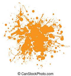 Orange ink splat - Abstract orange ink splat background with...