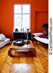 orange, inneneinrichtung