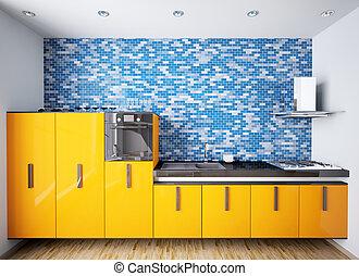 orange, intérieur, moderne, 3d, cuisine