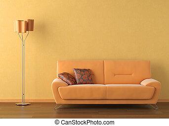 orange interior design scene - Interior design scene with a...