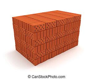 orange, isolé, briques, pile, blanc