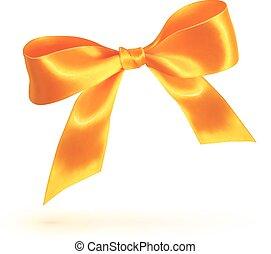 Orange isolated bow on white background