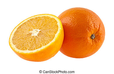 orange isolated on white background closeup