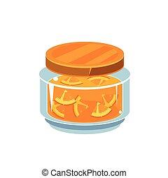 Orange Jam  In Transparent Jar