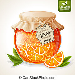 Orange jam jar - Natural organic orange citrus jam in glass...