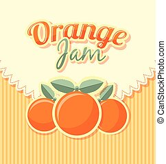 Orange jam label in retro style on striped background