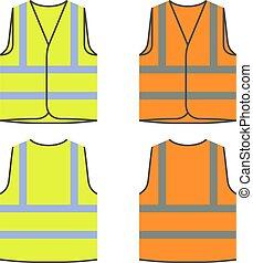 orange, jaune, gilet, réflecteur, sécurité