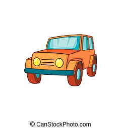 Orange jeep icon in cartoon style