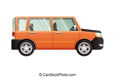 Orange Jeep with Clear Glasses. Speed Vehicle
