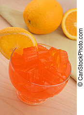 orange flavored jello dessert with orange slice