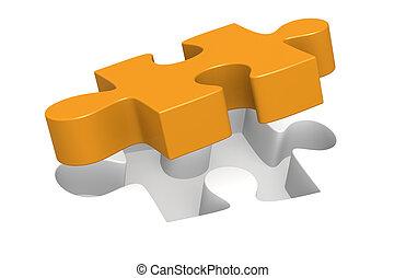 Jigsaw Piece - Orange Jigsaw Piece almost in place.