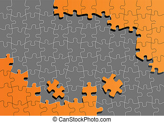 Orange jigsaw puzzle vector background for poster