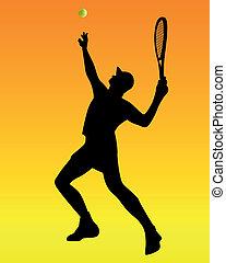 orange, joueur, tennis, fond