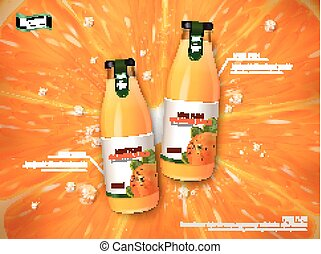 orange juice contained in glass bottles, juice background