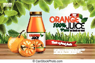orange juice contained in glass bottles with sliced oranges, farm background, 3d illustration