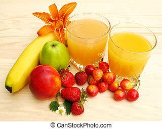 Orange juice and fresh fruit - Still life with orange juice,...
