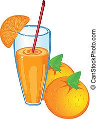 Orange juice and fruit, isolated on white background