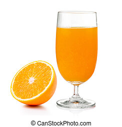Orange juice and orange isolated on white background